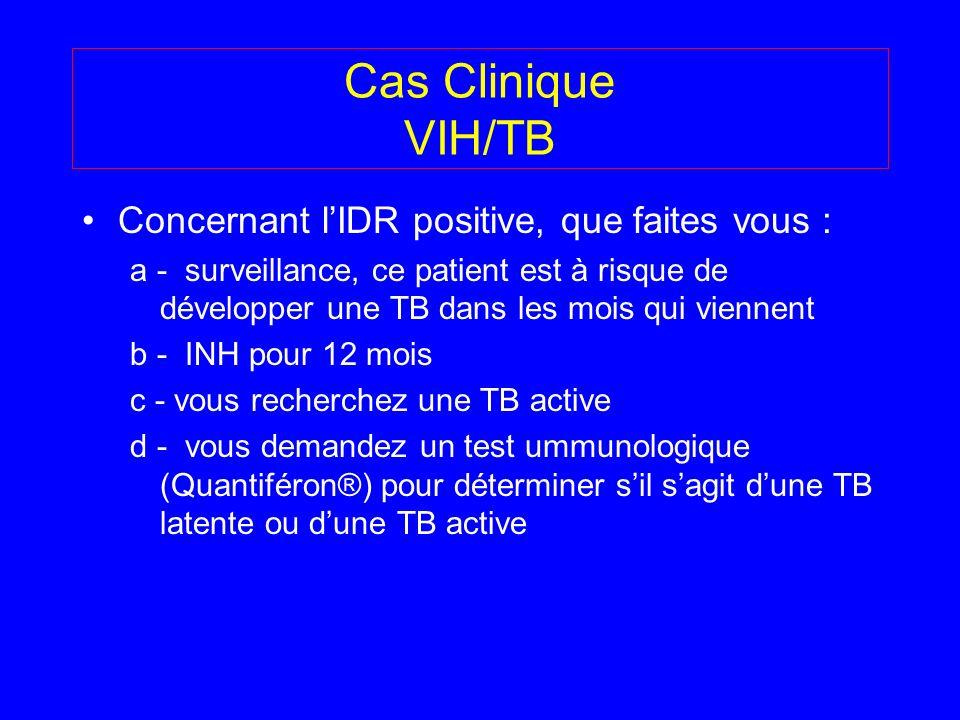 Cas Clinique VIH/TB Concernant lIDR positive, que faites vous : a - surveillance, ce patient est à risque de développer une TB dans les mois qui vienn