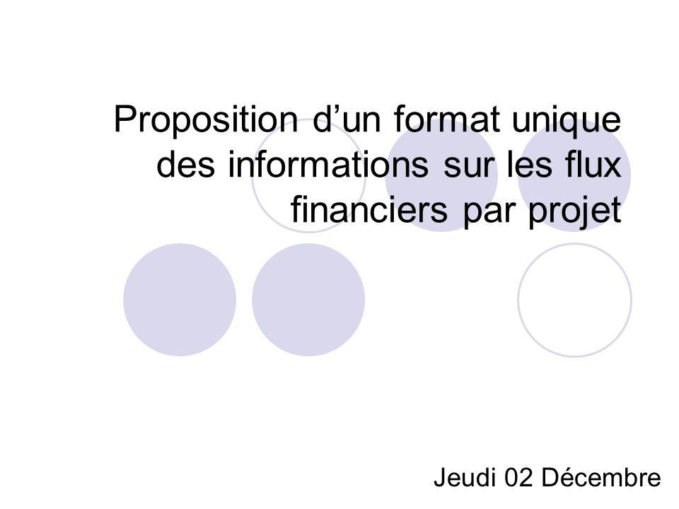 Proposition dun format unique des informations sur les flux financiers par projet Jeudi 02 Décembre