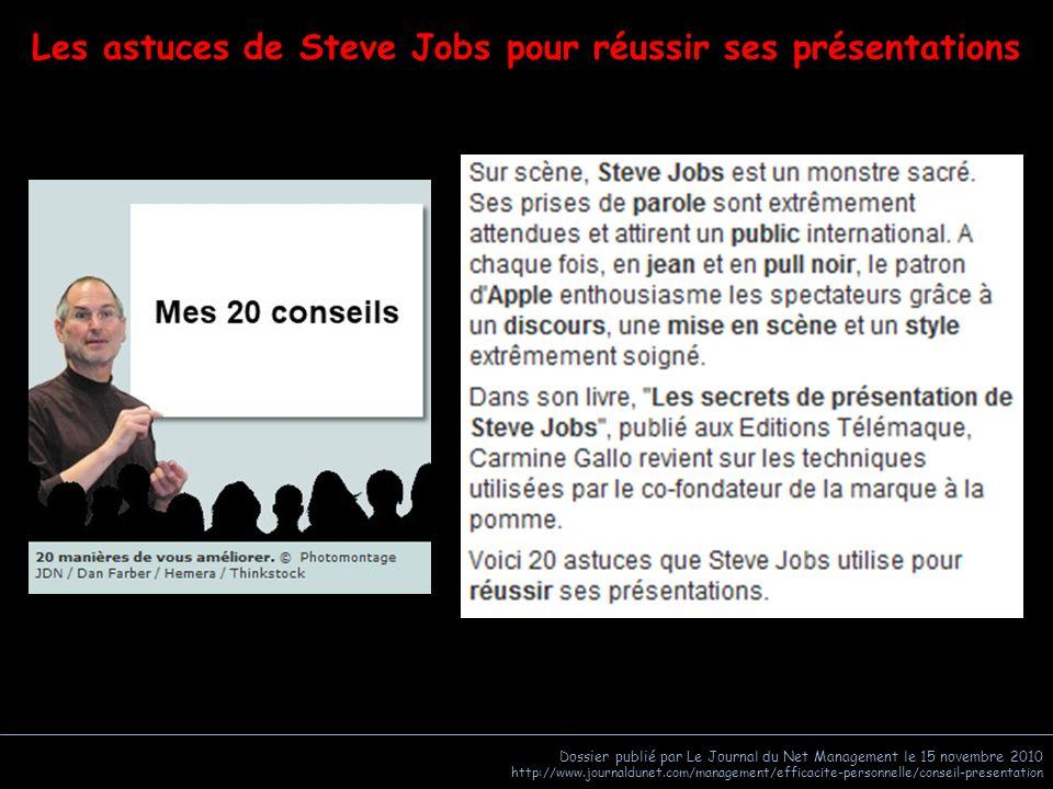 Dossier publié par Le Journal du Net Management le 15 novembre 2010 http://www.journaldunet.com/management/efficacite-personnelle/conseil-presentation En savoir plus