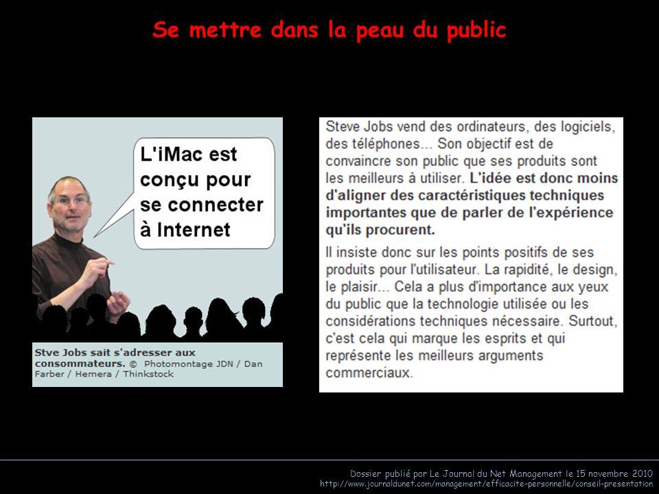 Dossier publié par Le Journal du Net Management le 15 novembre 2010 http://www.journaldunet.com/management/efficacite-personnelle/conseil-presentation
