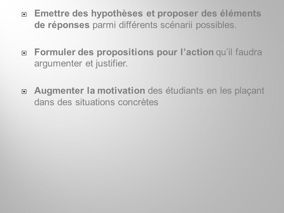 Emettre des hypothèses et proposer des éléments de réponses parmi différents scénarii possibles.