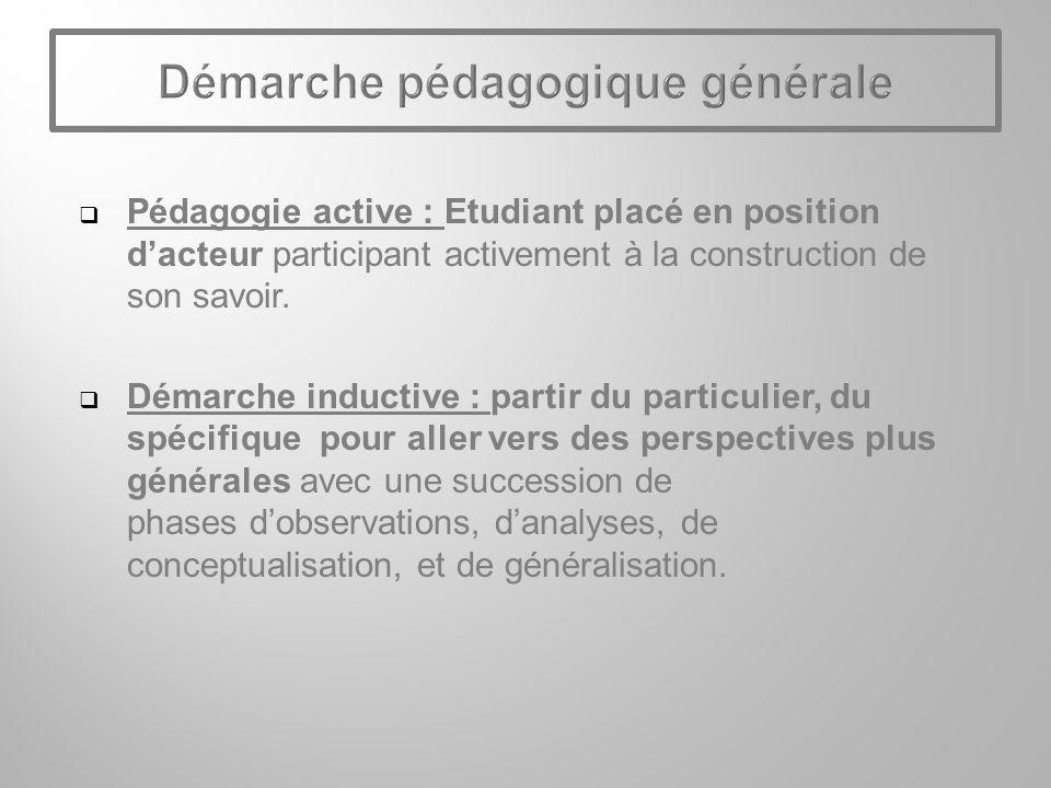 Pédagogie active : Etudiant placé en position dacteur participant activement à la construction de son savoir.