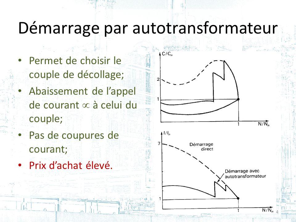 Démarrage par autotransformateur Permet de choisir le couple de décollage; Abaissement de lappel de courant à celui du couple; Pas de coupures de courant; Prix dachat élevé.