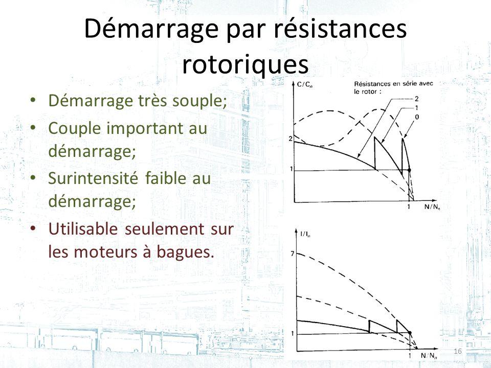 Démarrage par résistances rotoriques Démarrage très souple; Couple important au démarrage; Surintensité faible au démarrage; Utilisable seulement sur les moteurs à bagues.