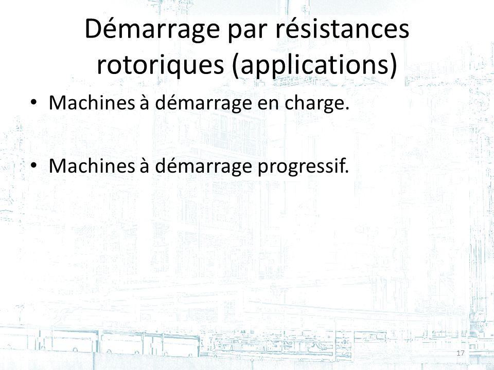 Démarrage par résistances rotoriques (applications) Machines à démarrage en charge.