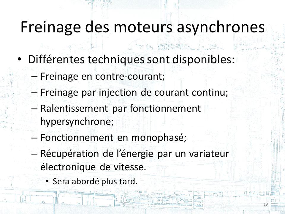 Freinage des moteurs asynchrones Différentes techniques sont disponibles: – Freinage en contre-courant; – Freinage par injection de courant continu; – Ralentissement par fonctionnement hypersynchrone; – Fonctionnement en monophasé; – Récupération de lénergie par un variateur électronique de vitesse.