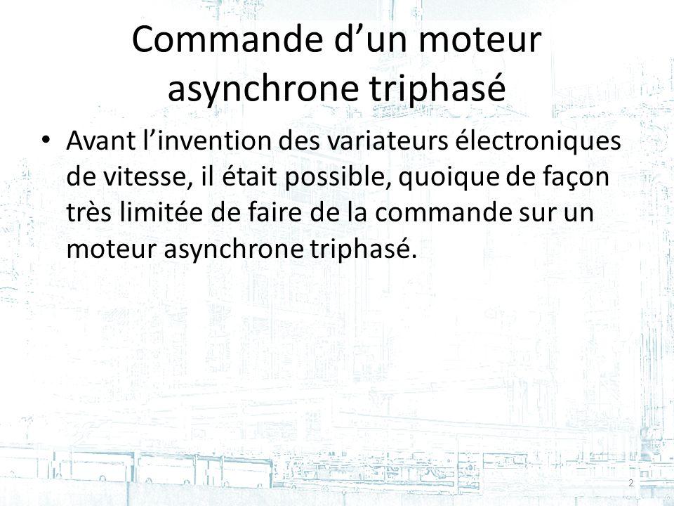 Commande dun moteur asynchrone triphasé Avant linvention des variateurs électroniques de vitesse, il était possible, quoique de façon très limitée de faire de la commande sur un moteur asynchrone triphasé.
