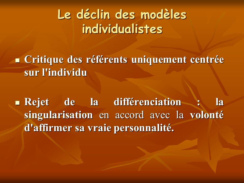 Le déclin des modèles individualistes Critique des référents uniquement centrée sur l'individu Critique des référents uniquement centrée sur l'individ