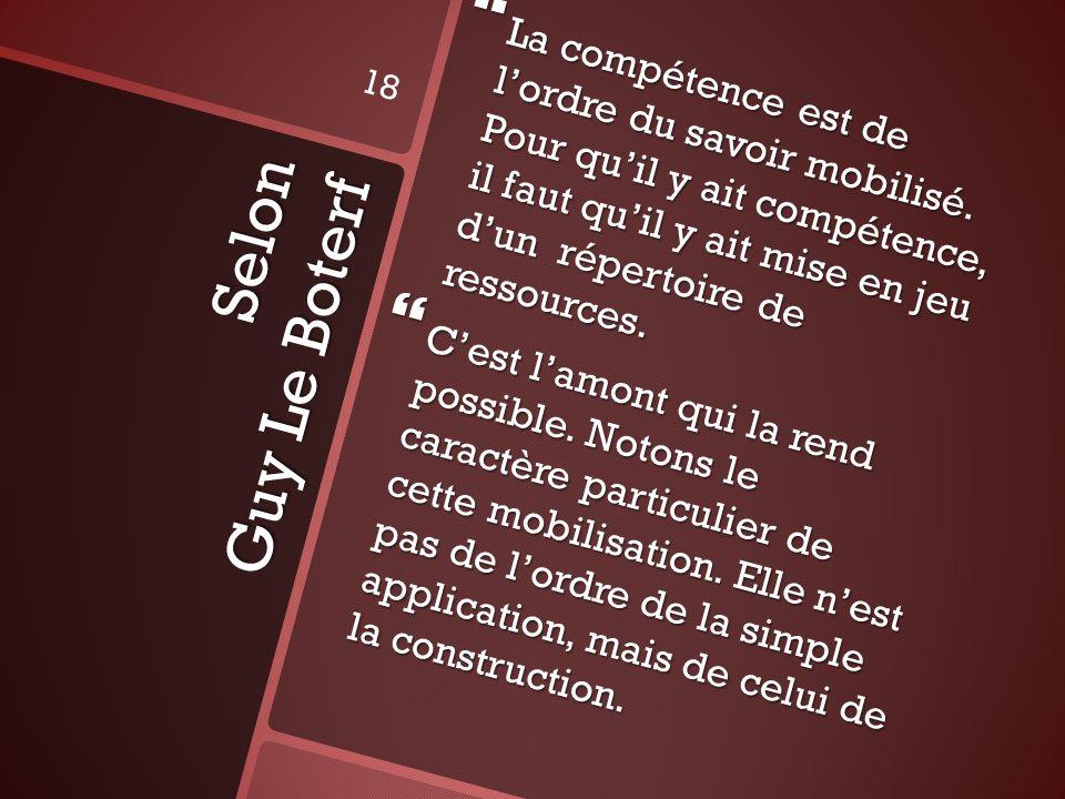 Selon Guy Le Boterf La compétence est de lordre du savoir mobilisé. Pour quil y ait compétence, il faut quil y ait mise en jeu dun répertoire de resso