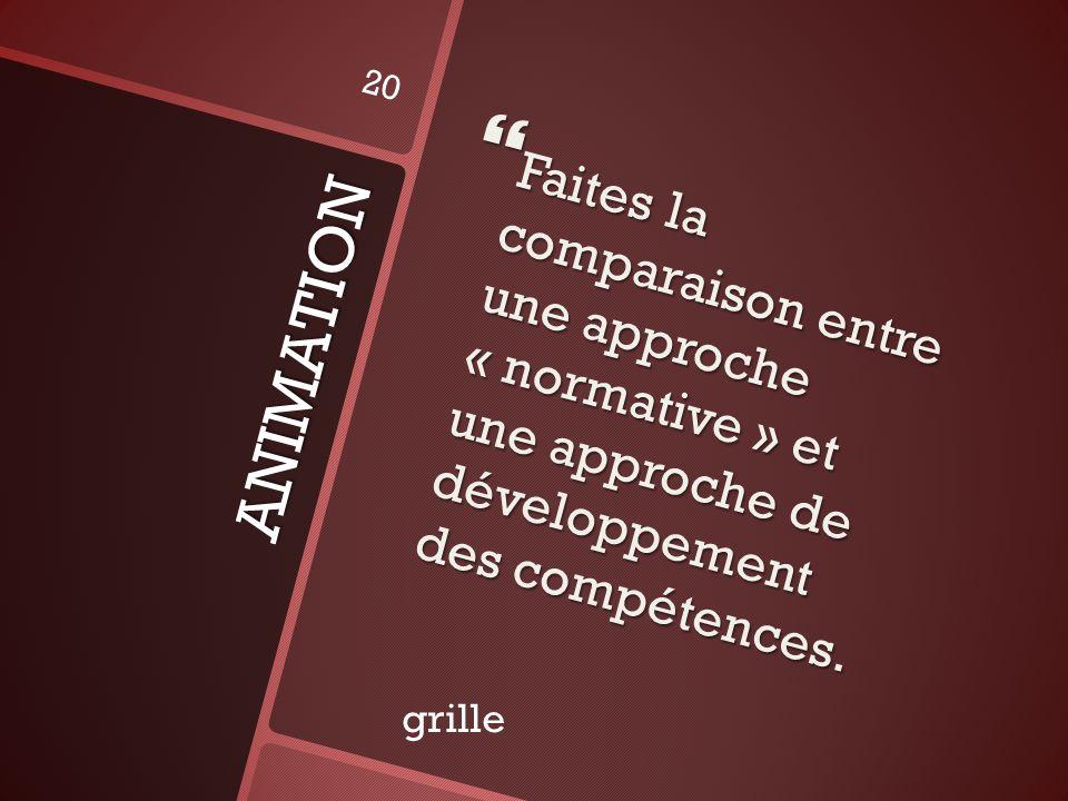 ANIMATION Faites la comparaison entre une approche « normative » et une approche de développement des compétences. Faites la comparaison entre une app