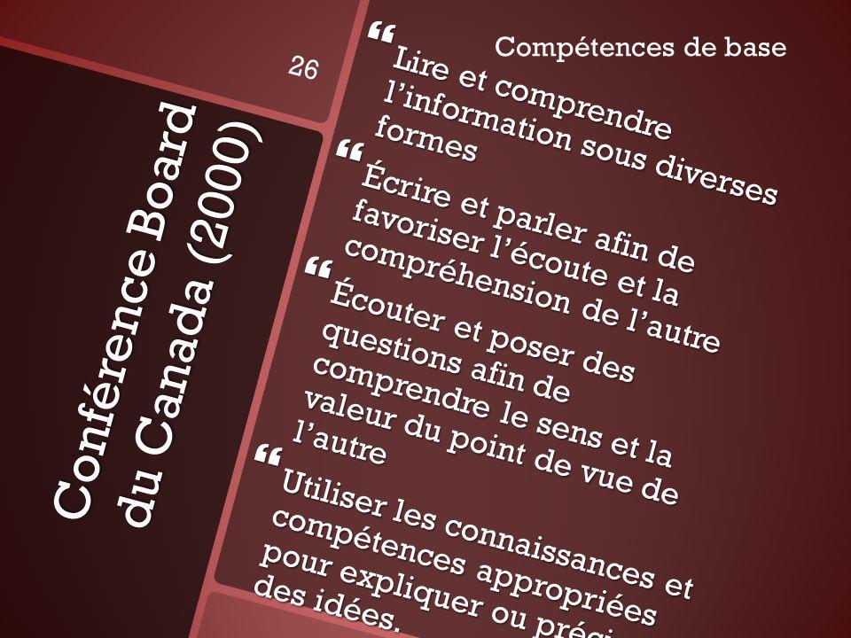 Conférence Board du Canada (2000) Lire et comprendre linformation sous diverses formes Lire et comprendre linformation sous diverses formes Écrire et