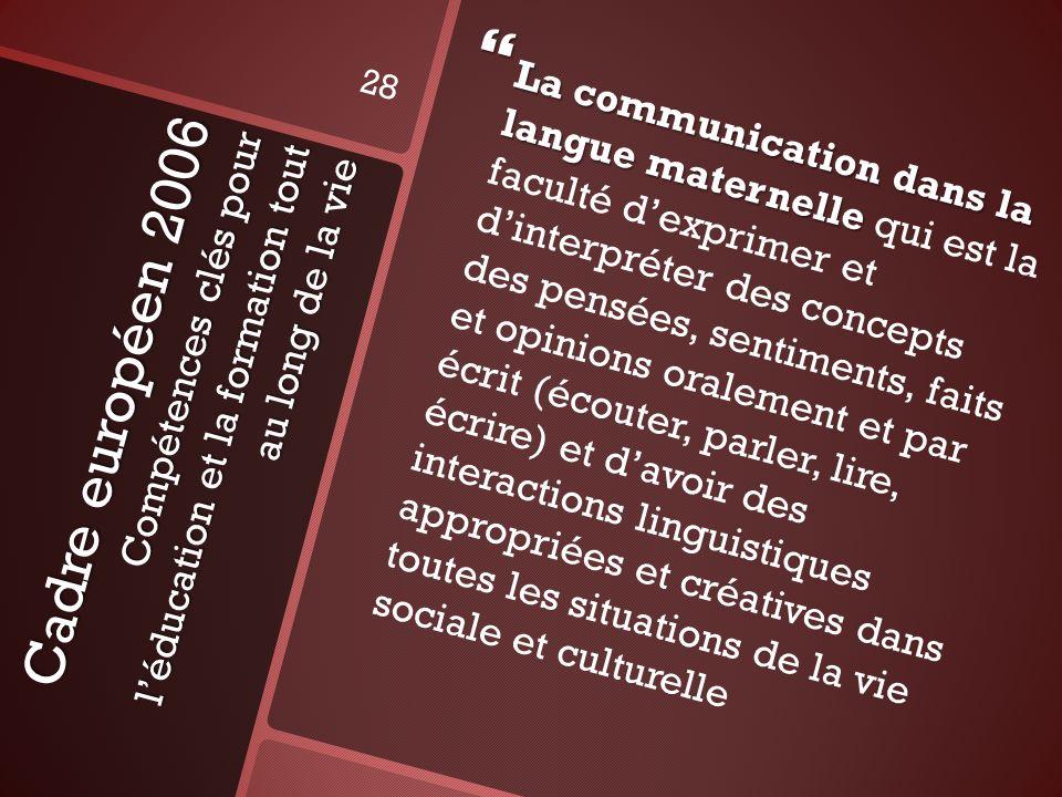 Cadre européen 2006 Compétences clés pour léducation et la formation tout au long de la vie La communication dans la langue maternelle La communicatio