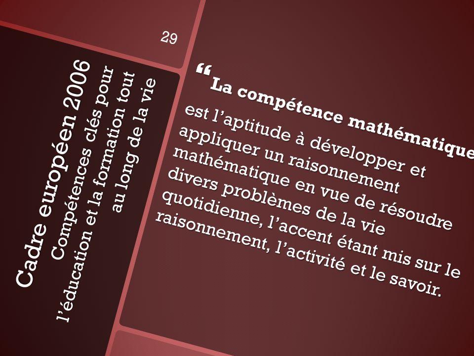 Cadre européen 2006 Compétences clés pour léducation et la formation tout au long de la vie La compétence mathématique La compétence mathématique est