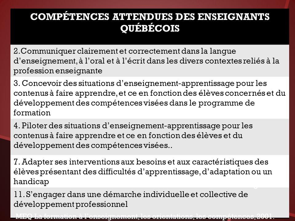 COMPÉTENCES ATTENDUES DES ENSEIGNANTS QUÉBÉCOIS 2.Communiquer clairement et correctement dans la langue denseignement, à loral et à lécrit dans les divers contextes reliés à la profession enseignante 3.