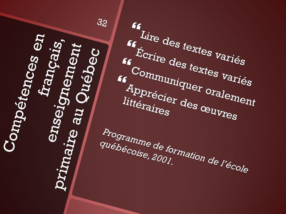 Compétences en français, enseignement primaire au Québec Lire des textes variés Lire des textes variés Écrire des textes variés Écrire des textes vari