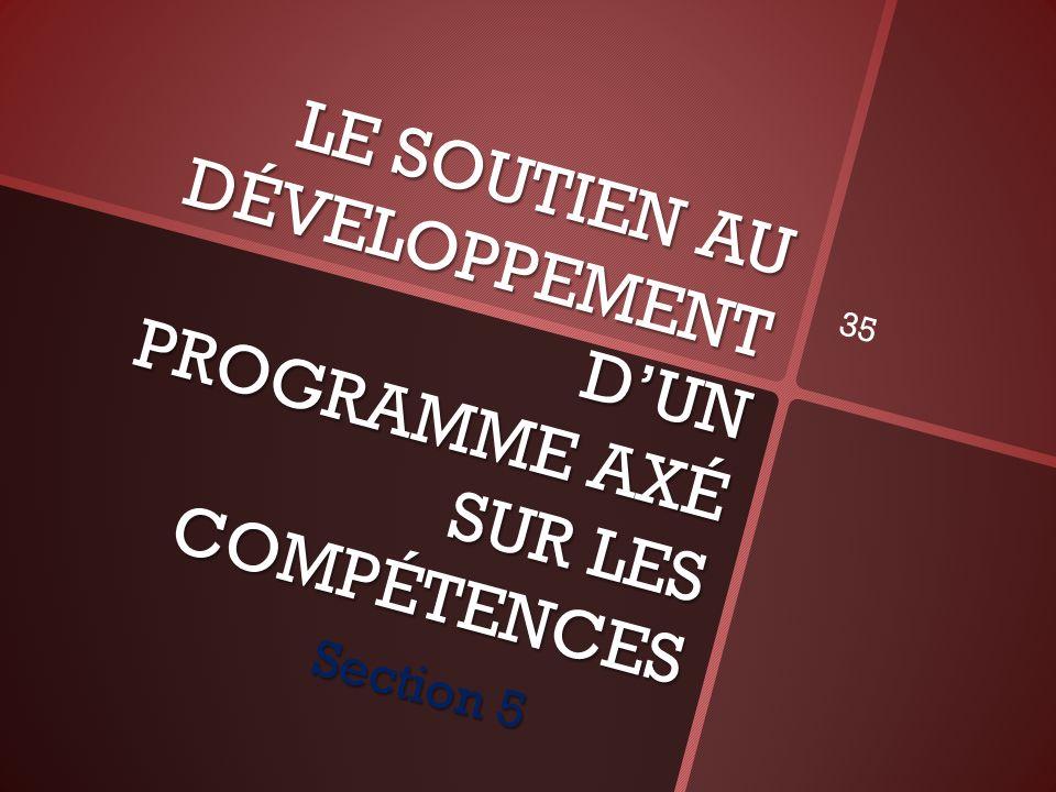 LE SOUTIEN AU DÉVELOPPEMENT DUN PROGRAMME AXÉ SUR LES COMPÉTENCES Section 5 35