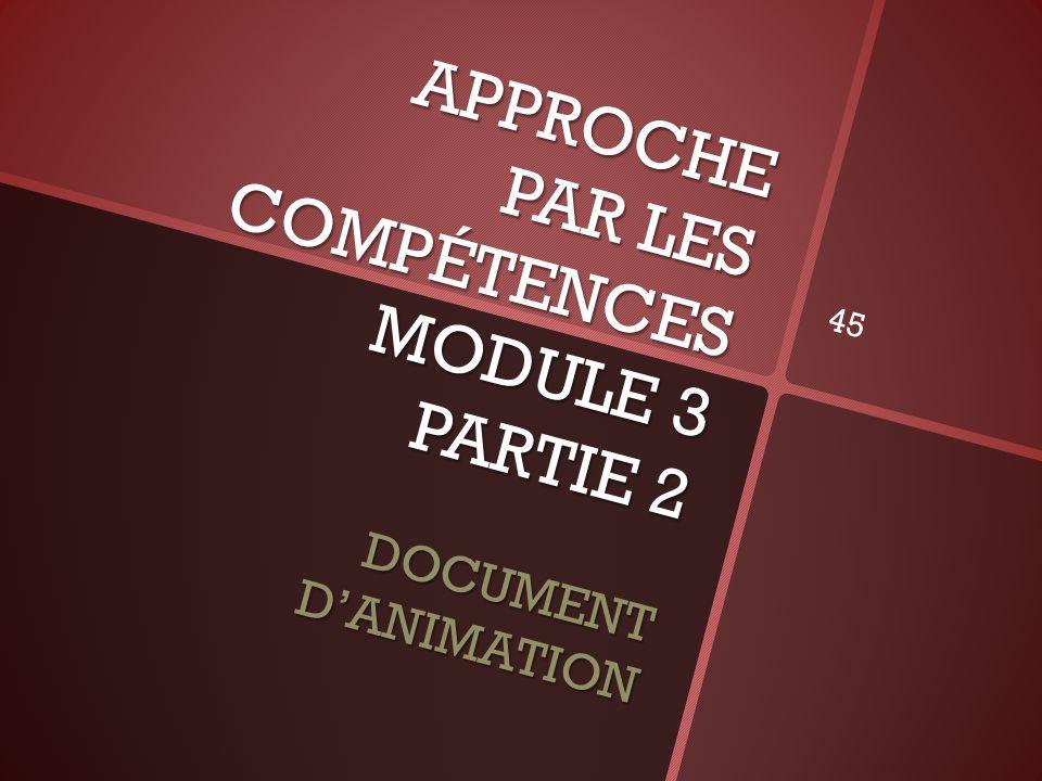 APPROCHE PAR LES COMPÉTENCES MODULE 3 PARTIE 2 DOCUMENT DANIMATION 45