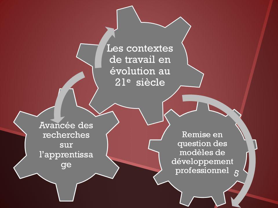 Remise en question des modèles de développement professionnel Avancée des recherches sur lapprentissa ge Les contextes de travail en évolution au 21 e