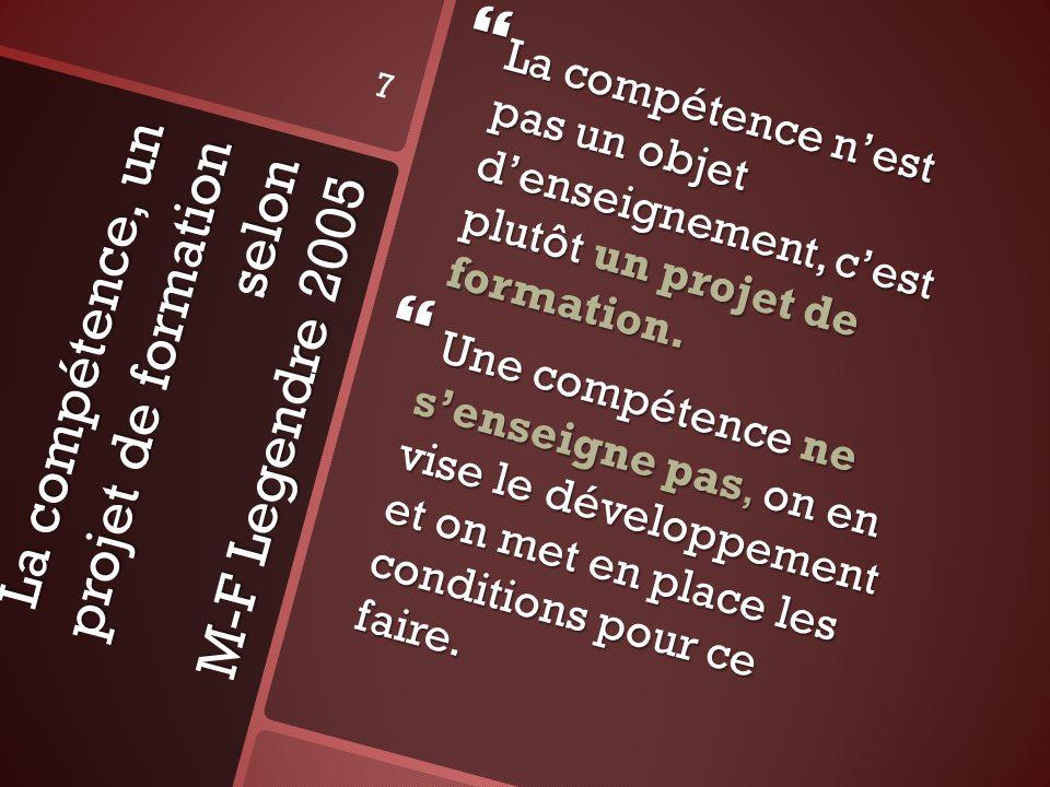 La compétence, un projet de formation selon M-F Legendre 2005 La compétence nest pas un objet denseignement, cest plutôt un projet de formation. La co