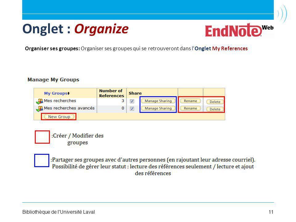 11Bibliothèque de l Université Laval Onglet : Organize Organiser ses groupes: Organiser ses groupes qui se retrouveront dans lOnglet My References