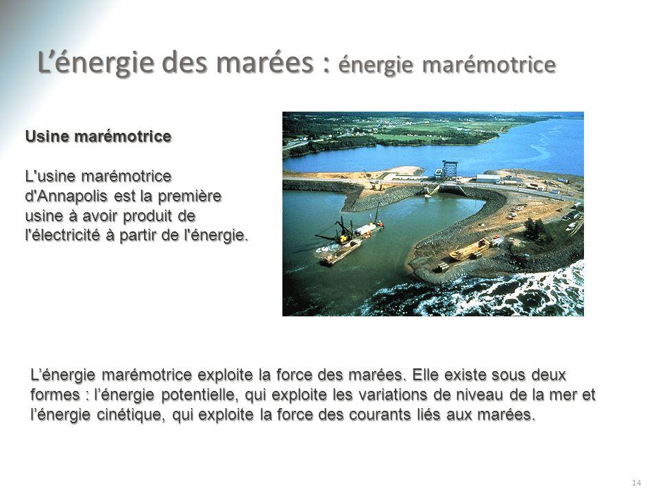 Lénergie des marées : énergie marémotrice 14 Usine marémotrice L'usine marémotrice d'Annapolis est la première usine à avoir produit de l'électricité