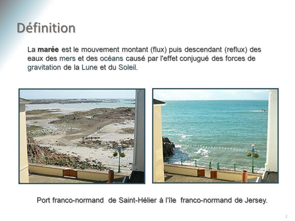 Définition 2 La marée est le mouvement montant (flux) puis descendant (reflux) des eaux des mers et des océans causé par l'effet conjugué des forces d