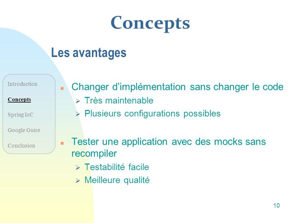 Concepts Les avantages n Changer dimplémentation sans changer le code Très maintenable Plusieurs configurations possibles n Tester une application ave