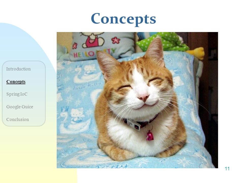 Concepts Introduction Concepts Spring IoC Google Guice Conclusion 11