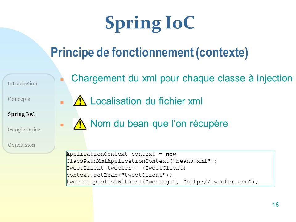 Spring IoC n Chargement du xml pour chaque classe à injection n Localisation du fichier xml n Nom du bean que lon récupère Principe de fonctionnement