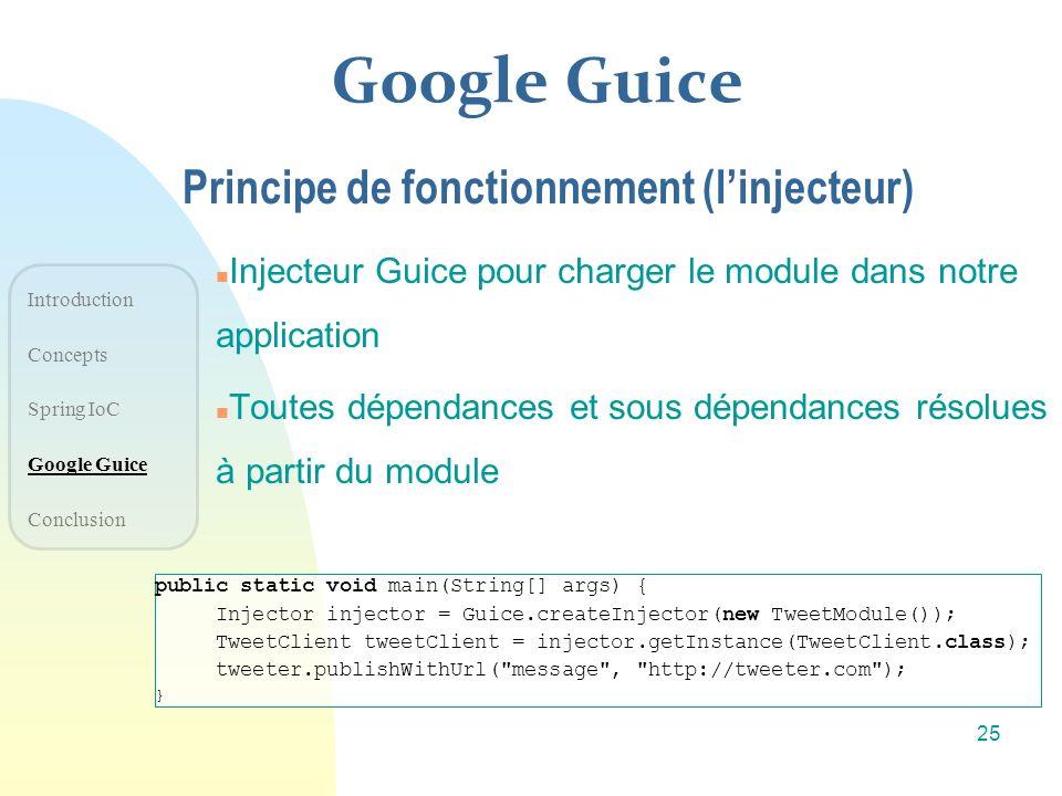 Google Guice n Injecteur Guice pour charger le module dans notre application n Toutes dépendances et sous dépendances résolues à partir du module Prin