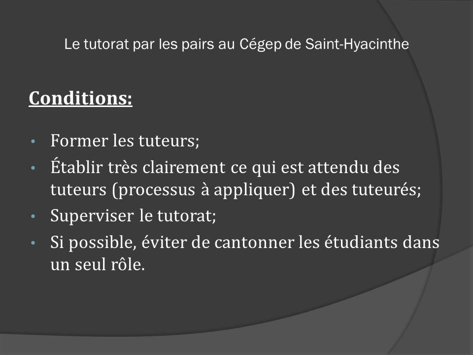 Le tutorat par les pairs au Cégep de Saint-Hyacinthe Conditions: Former les tuteurs; Établir très clairement ce qui est attendu des tuteurs (processus