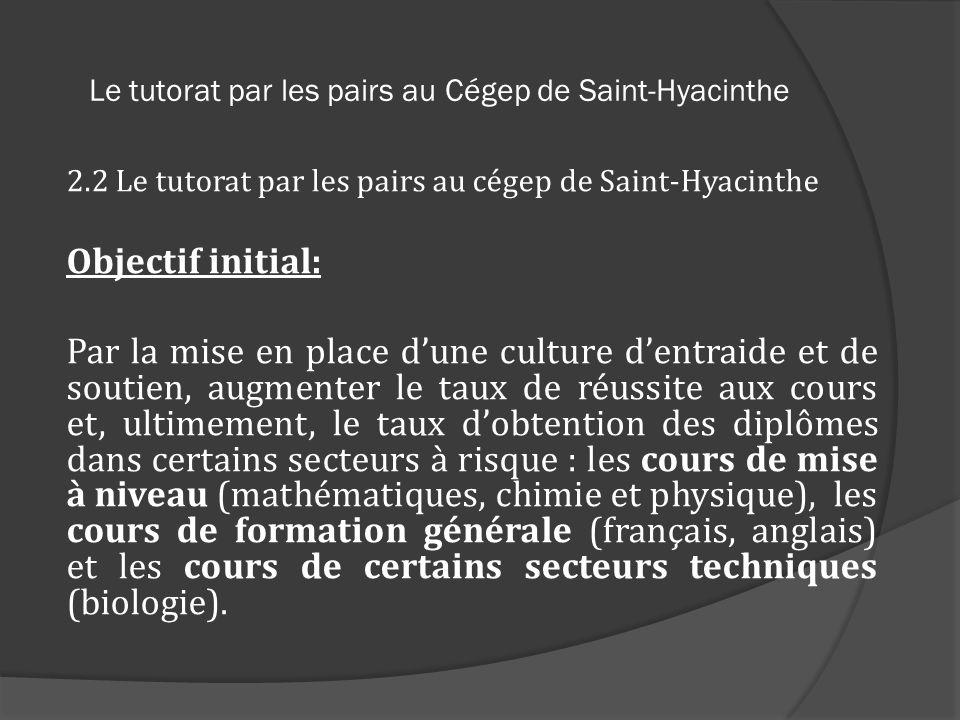 Le tutorat par les pairs au Cégep de Saint-Hyacinthe 2.2 Le tutorat par les pairs au cégep de Saint-Hyacinthe Objectif initial: Par la mise en place d
