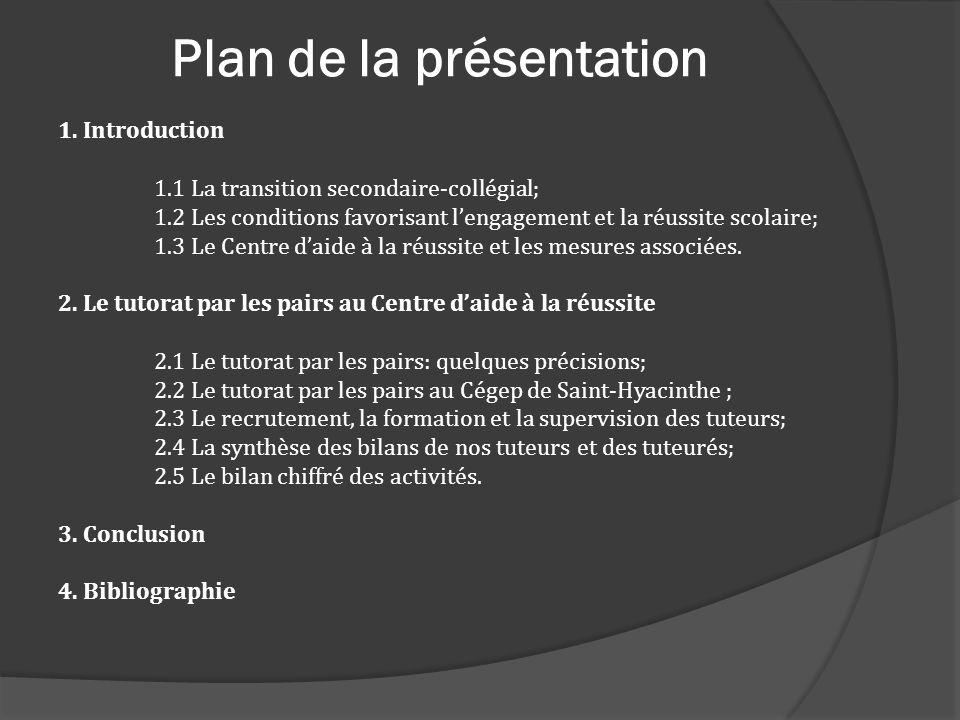 Plan de la présentation 1. Introduction 1.1 La transition secondaire-collégial; 1.2 Les conditions favorisant lengagement et la réussite scolaire; 1.3