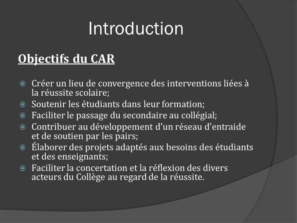 Introduction Objectifs du CAR Créer un lieu de convergence des interventions liées à la réussite scolaire; Soutenir les étudiants dans leur formation;
