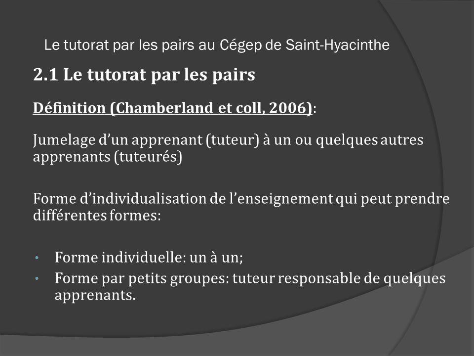 Le tutorat par les pairs au Cégep de Saint-Hyacinthe 2.1 Le tutorat par les pairs Définition (Chamberland et coll, 2006): Jumelage dun apprenant (tute