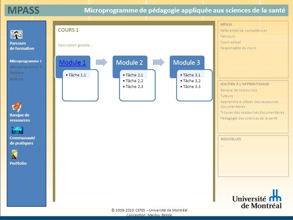 COURS 1 Description globale… Microprogramme de pédagogie appliquée aux sciences de la santé MPASS Banque de ressources Parcours de formation Microprog