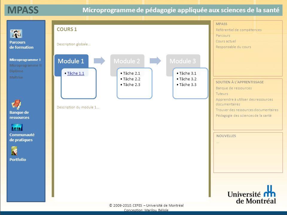 COURS 1 Description globale… Description du module 1… Microprogramme de pédagogie appliquée aux sciences de la santé MPASS Banque de ressources Parcou
