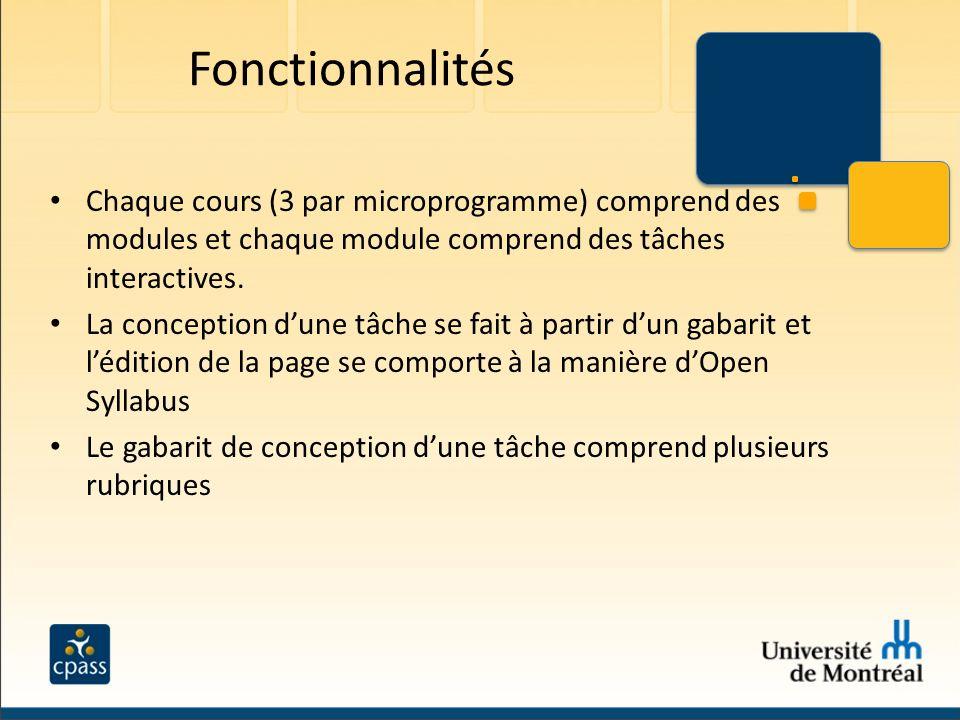 Fonctionnalités Chaque cours (3 par microprogramme) comprend des modules et chaque module comprend des tâches interactives. La conception dune tâche s