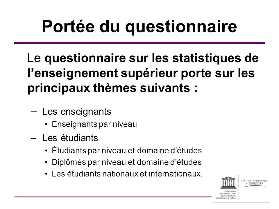 Portée du questionnaire Le questionnaire sur les statistiques de lenseignement supérieur porte sur les principaux thèmes suivants : – Les enseignants