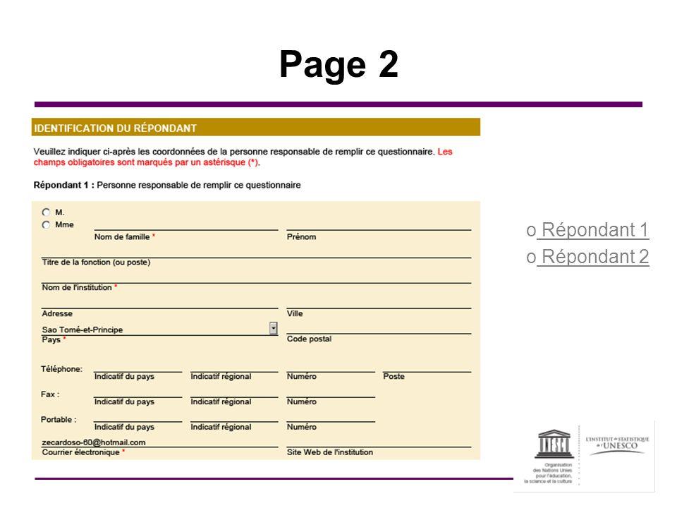 Page 2 o Répondant 1 o Répondant 2