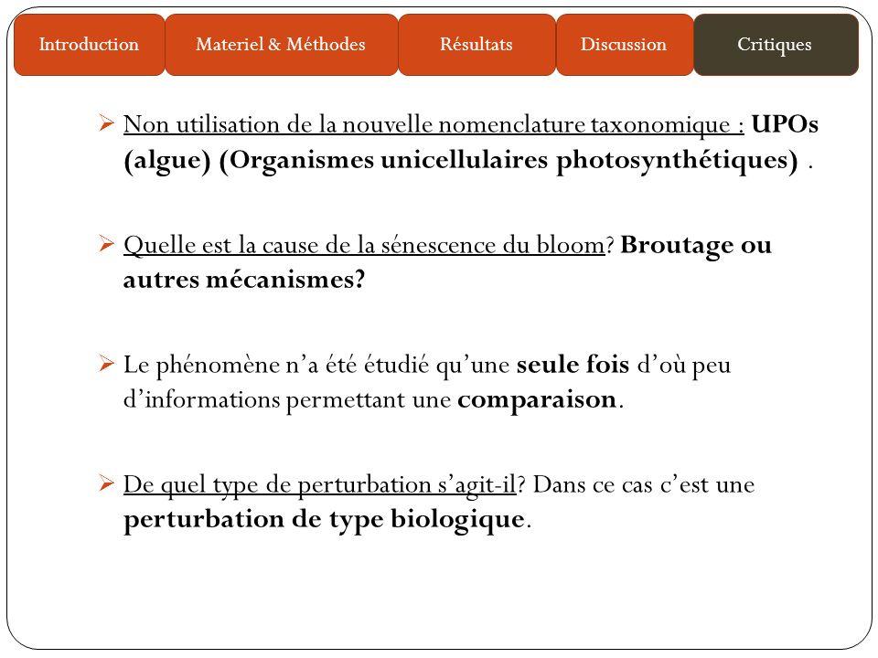 Non utilisation de la nouvelle nomenclature taxonomique : UPOs (algue) (Organismes unicellulaires photosynthétiques).
