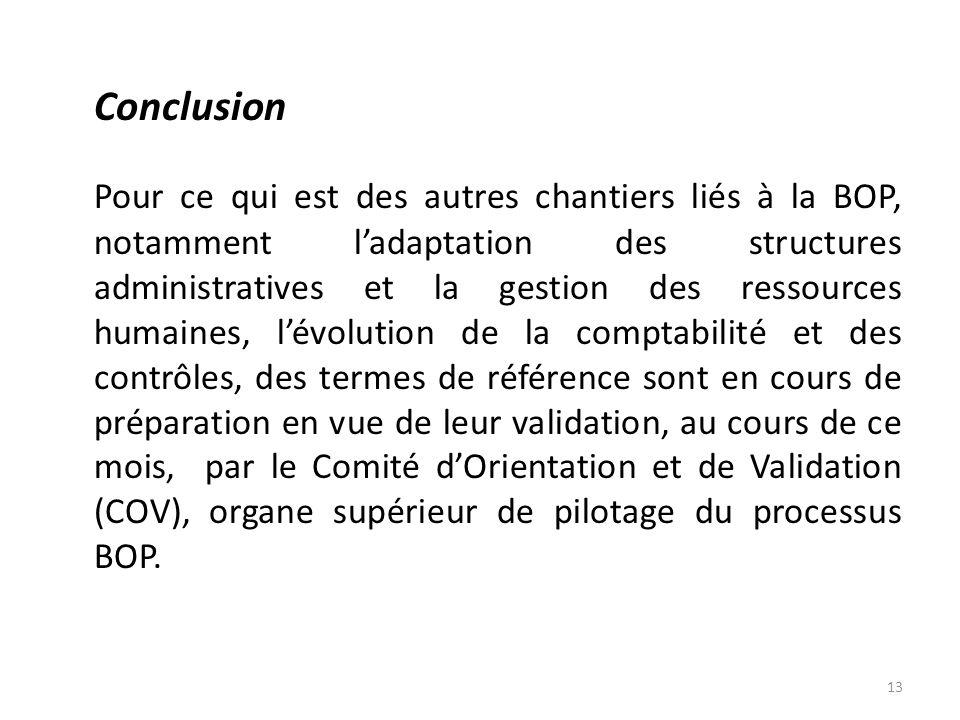 Conclusion Pour ce qui est des autres chantiers liés à la BOP, notamment ladaptation des structures administratives et la gestion des ressources humai