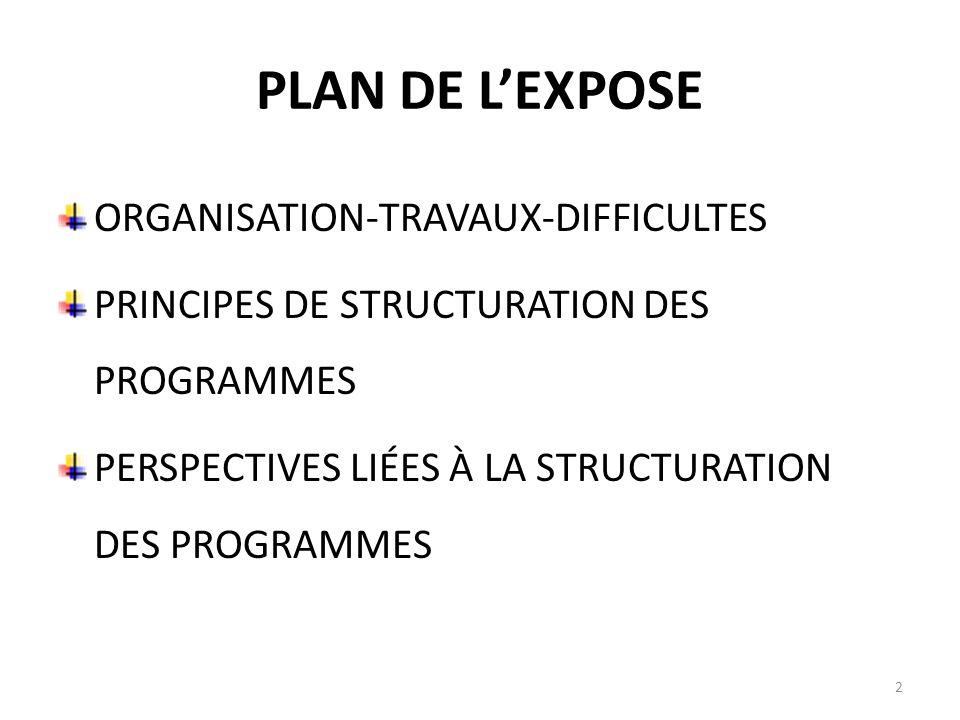 PLAN DE LEXPOSE ORGANISATION-TRAVAUX-DIFFICULTES PRINCIPES DE STRUCTURATION DES PROGRAMMES PERSPECTIVES LIÉES À LA STRUCTURATION DES PROGRAMMES 2