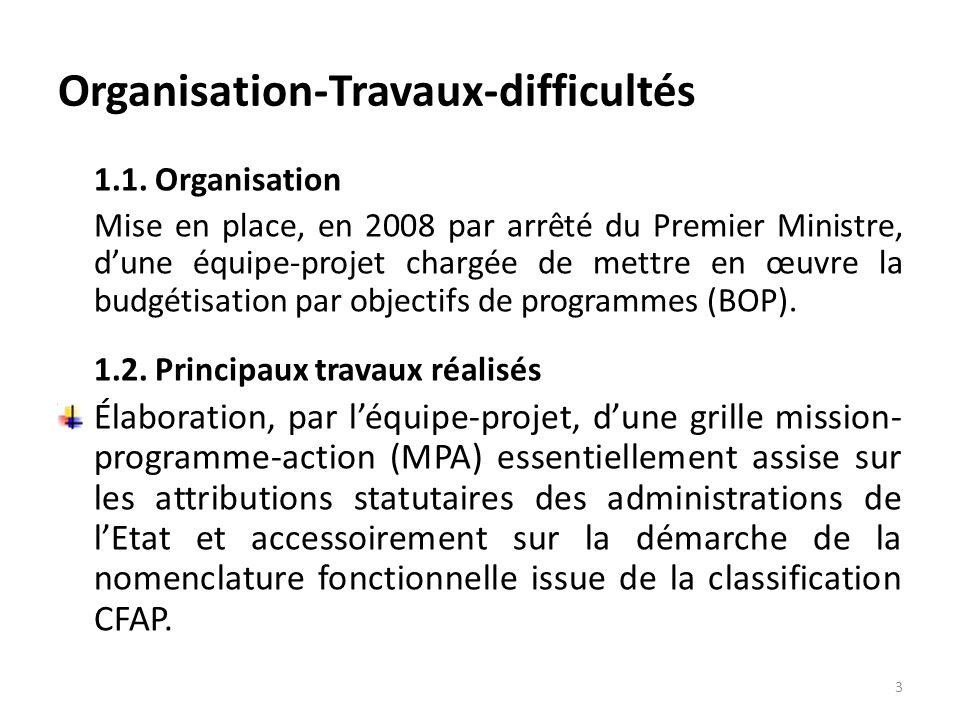 Organisation-Travaux-difficultés 1.1. Organisation Mise en place, en 2008 par arrêté du Premier Ministre, dune équipe-projet chargée de mettre en œuvr