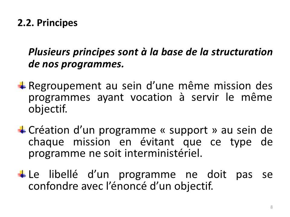 2.2. Principes Plusieurs principes sont à la base de la structuration de nos programmes. Regroupement au sein dune même mission des programmes ayant v