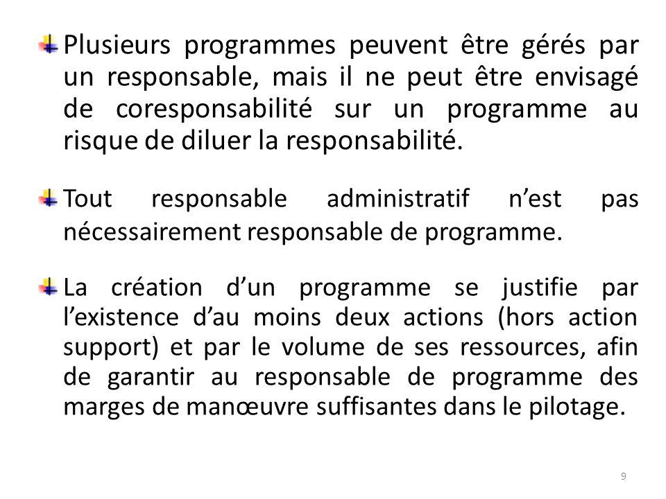 Plusieurs programmes peuvent être gérés par un responsable, mais il ne peut être envisagé de coresponsabilité sur un programme au risque de diluer la