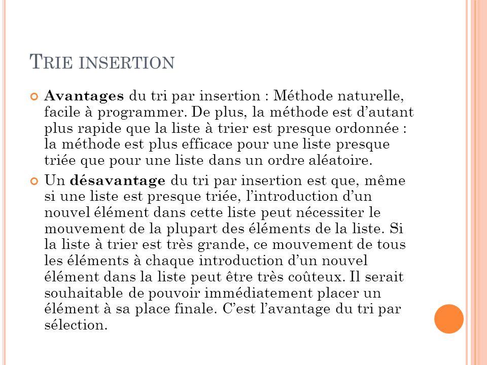 T RIE INSERTION Avantages du tri par insertion : Méthode naturelle, facile à programmer.