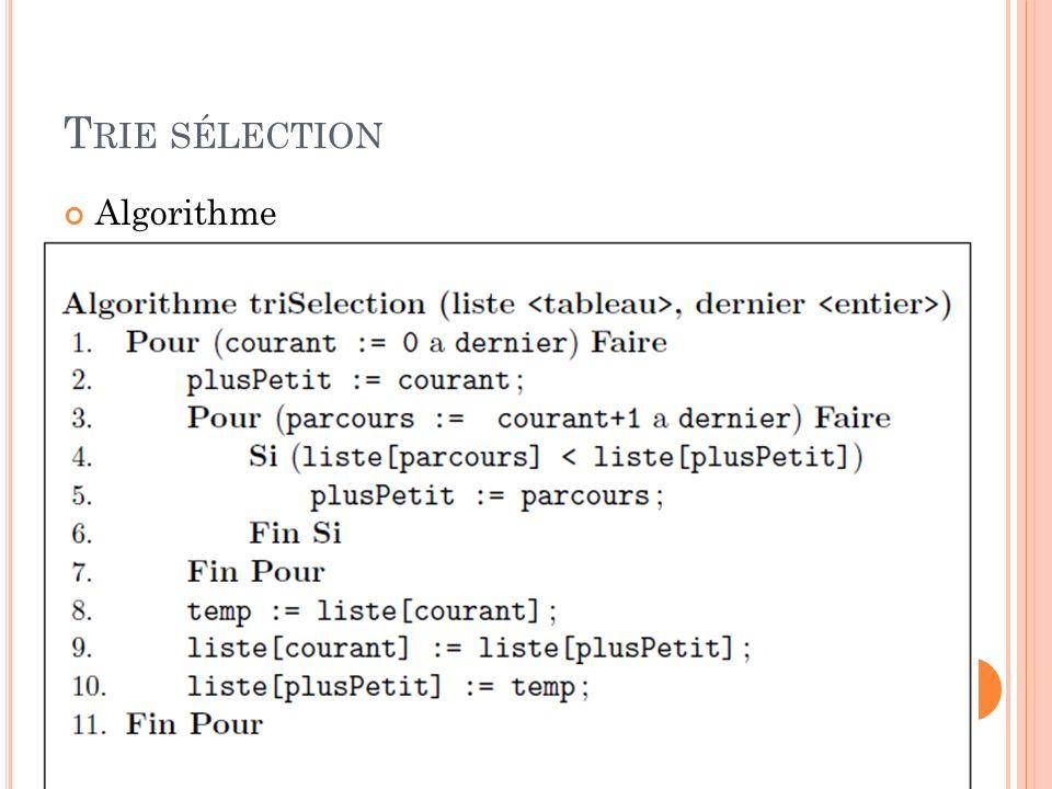 T RIE SÉLECTION Algorithme