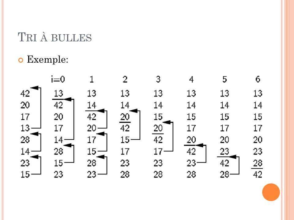 T RI À BULLES Exemple: