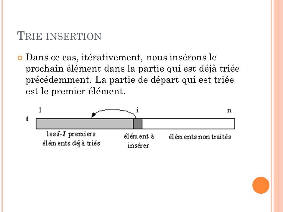 T RIE INSERTION Dans ce cas, itérativement, nous insérons le prochain élément dans la partie qui est déjà triée précédemment.